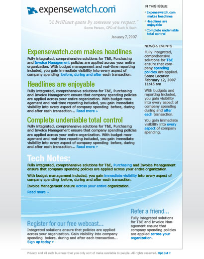 Expensewatch newsletter comp